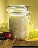 Peppery apricot lard in preserving jar