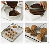 Making mocha truffle (canache) chocolates