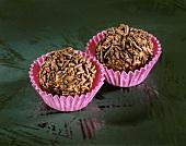 Chocolate & coffee truffle with chocolate flakes