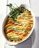 Vegetable gratin with potatoes, courgettes and carrots
