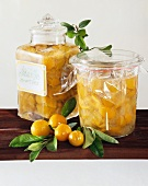 Mirabelle preserve in jars and a few mirabelles