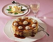 Pancake tower with mushroom filling