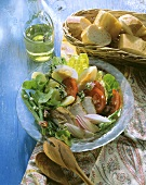 Mixed salad with chicken breast fillets
