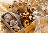 Assorted Christmas biscuits in gift boxes