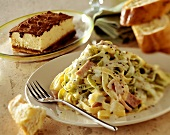 Ribbon noodles with ham and cream sauce and tiramisu