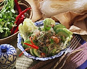 Glass noodle salad with mince, cucumber and shrimps