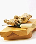 Ginger Root on a Cutting Board