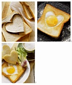 Making heart-shaped fried egg on toast