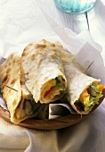 Flat bread roll with vegetable filling