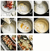 Preparing vegetable casserole with cheese sauce