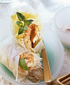 Wraps (rice papers rolls filled with turkey & shrimps)