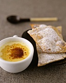 Crème brulee and deep-fried pastries