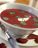Beetroot soup with watercress