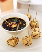 Diced salmon and soya dip