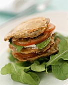 Aubergine pancakes with goat's cheese and tomatoes