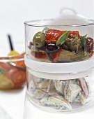 Artichoke and olive salad & potato and yoghurt salad