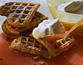 Banana waffles with vanilla cream