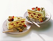 Ice cream cake with raspberries