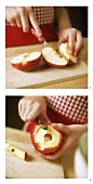 Peeling apple for apple cake