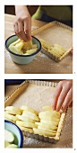 Covering sheet cake with apples