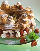 Strawberry gateau with choux pastry