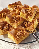 Tray-baked apple cake with slivered almonds