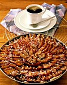Plum tart and cup of coffee