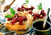 Tray-baked raspberry sponge cake