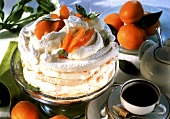 Meringue gateau with apricot mousse, with coffee