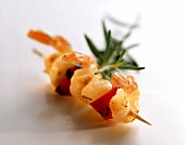 Shrimp and vegetable kebab with rosemary