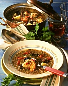 Lentil soup with dried fruit
