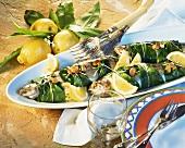 Trout in ramsons (wild garlic) casing