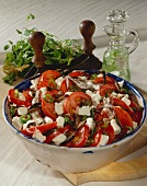 Tomato salad, peasant style with sheep's cheese & anchovies