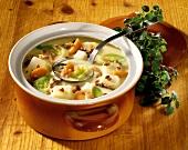 Prague potato soup: vegetables, bacon, mushrooms & marjoram