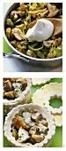 Preparing pie in dish with mushroom ragout