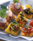 Crostini di polenta (Assorted polenta snacks)