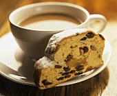 A piece of Stollen & cup of coffee