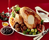 Roast turkey with Brussels sprouts