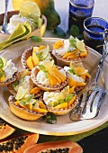 Papaya tartlets with lime cream