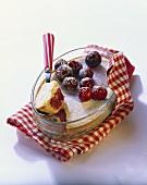 Warm cherry flan in baking dish