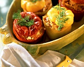 Stuffed red and yellow peppers with sauerkraut