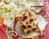 Pieces of plain cherry cake