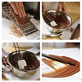 Schokolade reiben, schmelzen und verstreichen