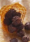 Chocolate truffles in raffia basket