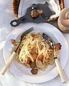 Pasta all'albese (Spaghetti with celery sauce and truffles)