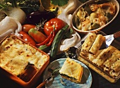 Vegetable lasagne, cannelloni and filled pasta shells