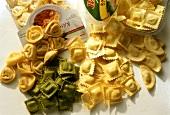Various types of ravioli & tortellini in packaging