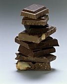 A tower of pieces of chocolate