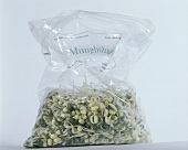 A plastic bag of fresh mung bean sprouts