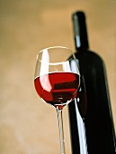 A Glass of Red Wine; Bottle